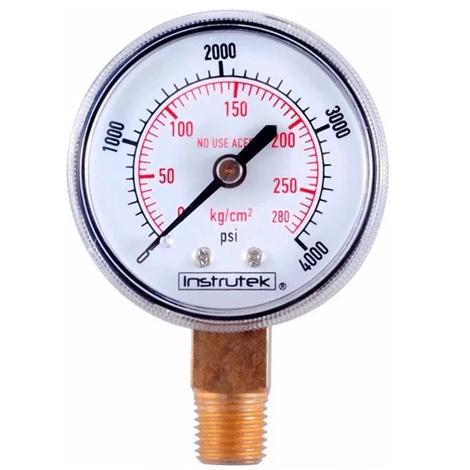 "Manómetro 2"" 280kg 1/4"" entrada oxigeno(0-4000psi)."