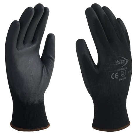 Guante de nylon negro con poliuretano talla 9