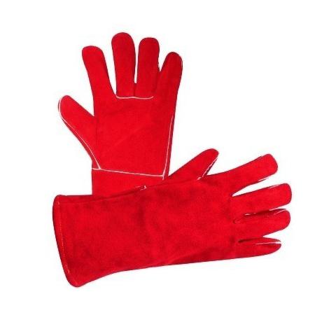 Guante de carnaza afelpado largo hilo kevlar rojo